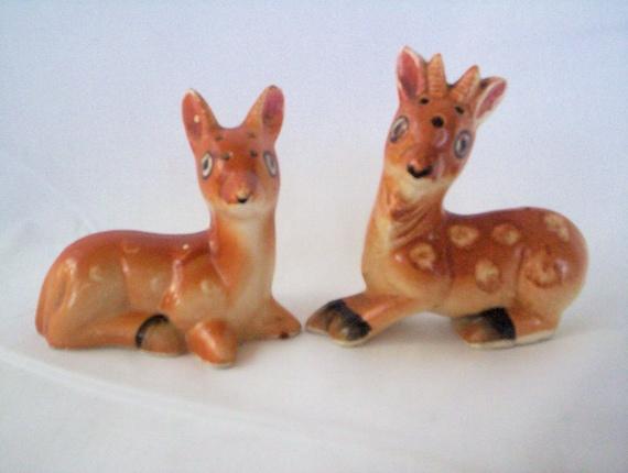Spotted Deer or Fawns Vintage Deer Salt and Pepper Shakers