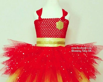 Sparkly Firefighter Inspired Tutu Dress and Sparkly Hat-Birthday, Party, Photo Shoot, Pageant, Fancy Dress