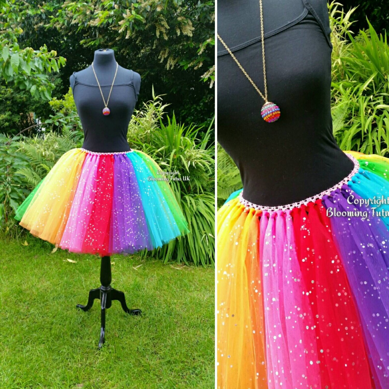 d809356a8e1 ADULT Rainbow Coloured Sparkly Knee Length Tutu Skirt