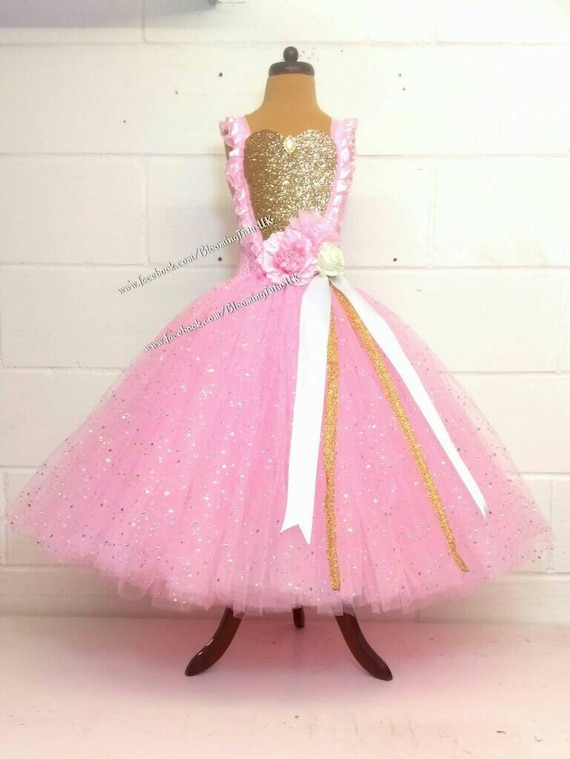 Pink and Gold Super Sparkly Tutu Dress Birthday, Party, Pageant, Fancy Dress, Princess, Flower Girl FREE UK DELIVERY