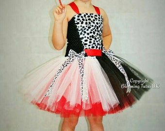Dalmatian Handmade Tutu Dress - Birthday, Party, Photo Prop, Pageant, Villain