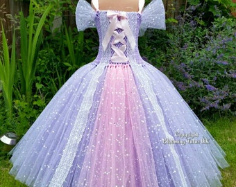 Lilac Princess Sparkly Tutu Dress-Birthday, Party, Photoshoot, Pageant, Fancy Dress, Princess - FREE UK DELIVERY