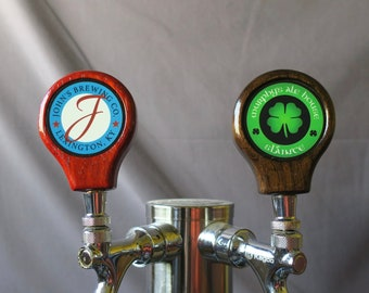 Tap handle, wood with custom graphic, 3.25 inches tall