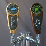 Custom tap handle, chalkboard with graphic in Hardwood, 6 inches tall