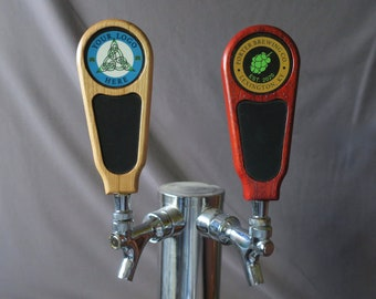 Custom tap handle, chalkboard with full color graphic, 6 inches tall