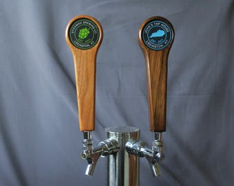 Beer tap handle, custom graphic in Hardwood, 8 inches tall
