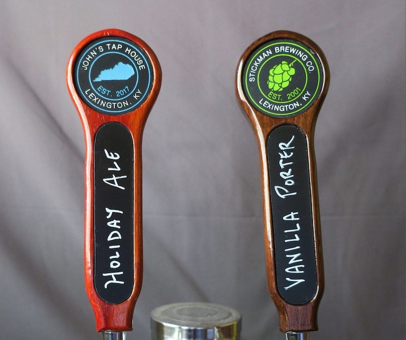 Beer tap handle Hardwood with inset graphic and chalkboard 8 image 0