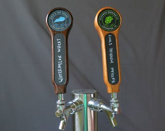 Beer tap handle, Hardwood with inset graphic and chalkboard, 8 inches tall