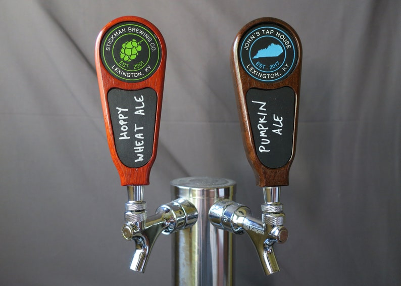 Beer tap handle Wood with chalkboard 6 inches tall image 0