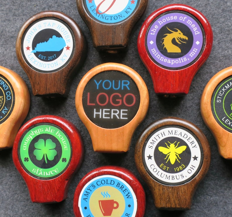 Tap handle wood with custom graphic 3.25 inches tall image 0