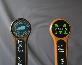 Custom tap handle, chalkboard with graphic, 8 inches tall