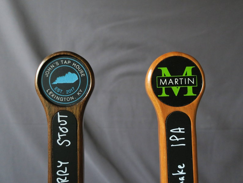 Custom tap handle chalkboard with graphic 8 inches tall image 0