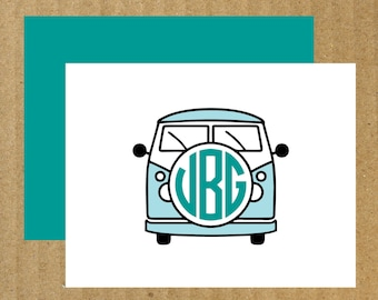 VW Bus Note Cards, Set of 10, Monogram Note Cards, Thank You Cards, VW, Bus Monogram, Car Monogram, Car Note Cards, Monogram Stationery