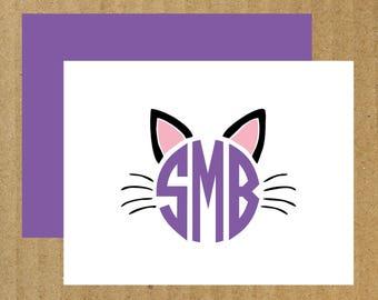 Cat Note Cards, Set of 10, Cat Monogram Cards, Cat, Thank You Cards, Cat Monogram Note Cards, Cat Monogram, Kitten, Cat Cards
