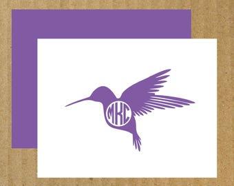 Hummingbird Cards, Set of 10, Monogram Hummingbird Note Cards, Hummingbird Monogram, Hummingbird, Hummingbird Note Cards, Thank You Cards