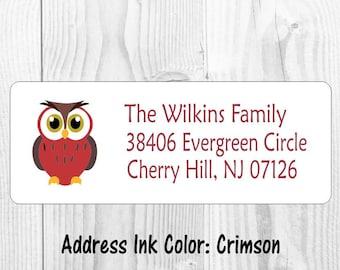 BRIGHT PRETTY OWL /& FLOWER POWER DESIGN #33 ~ TALL RETURN ADDRESS LABELS