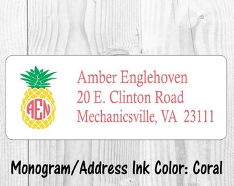 Return Address Labels 120 self-sticking labels with FREE U.S Pineapple and Dots Summer Watercolor Shipping