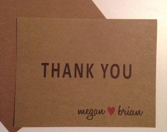 Wedding Kraft Thank You Cards, Set of 25, Personalized Wedding Kraft Thank You Cards, Bridal Shower Thank You Cards, Kraft Thank You Cards