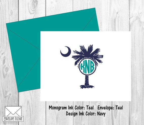 South Carolina Monogram Thank You Cards Palmetto Moon Monogram Note Cards