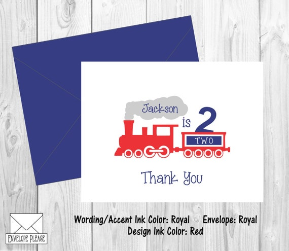 Train Thank You Cards Birthday Thank You Cards Set Of 10 Etsy