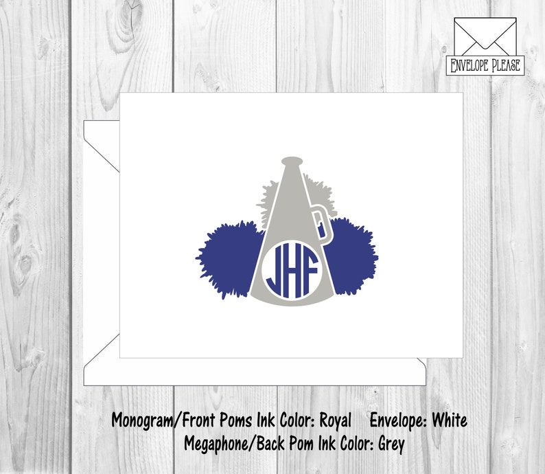 Cheer Monogram Gift Cheerleader Monogram Stationery Cheerleader Note Cards