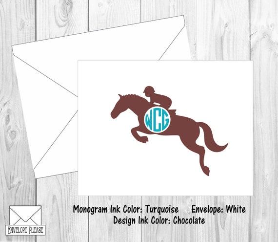 Horseshoe Monogram Note Cards Horse Monogram Cards Equestrian Monogram Stationery