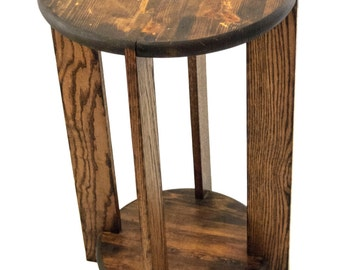 Reclaimed Full Round End Table