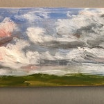 "Mini Landscape Study, 3""x5"" unframed original oil painting on small linen panel. English landscape scene study."