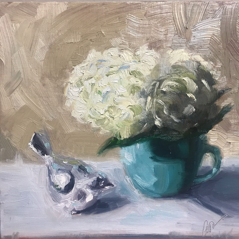 Still life with soft blues by Abigail Muncy Fine Art on Etsy.