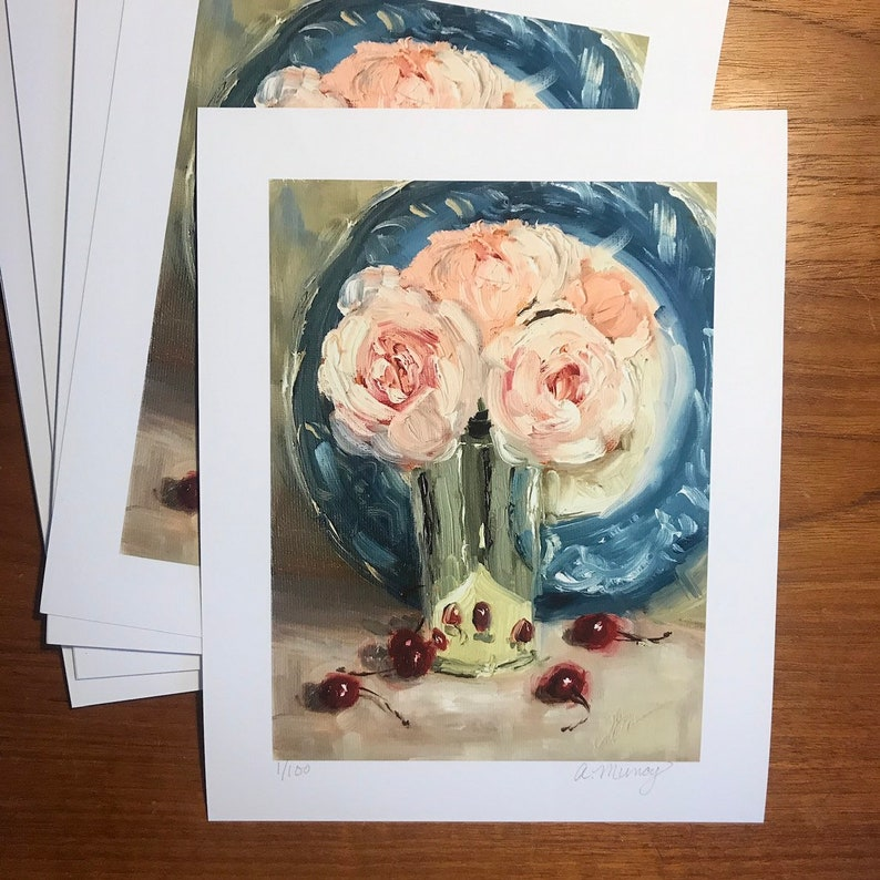Unframed print signed limited edition Peonies with Cherries image 0