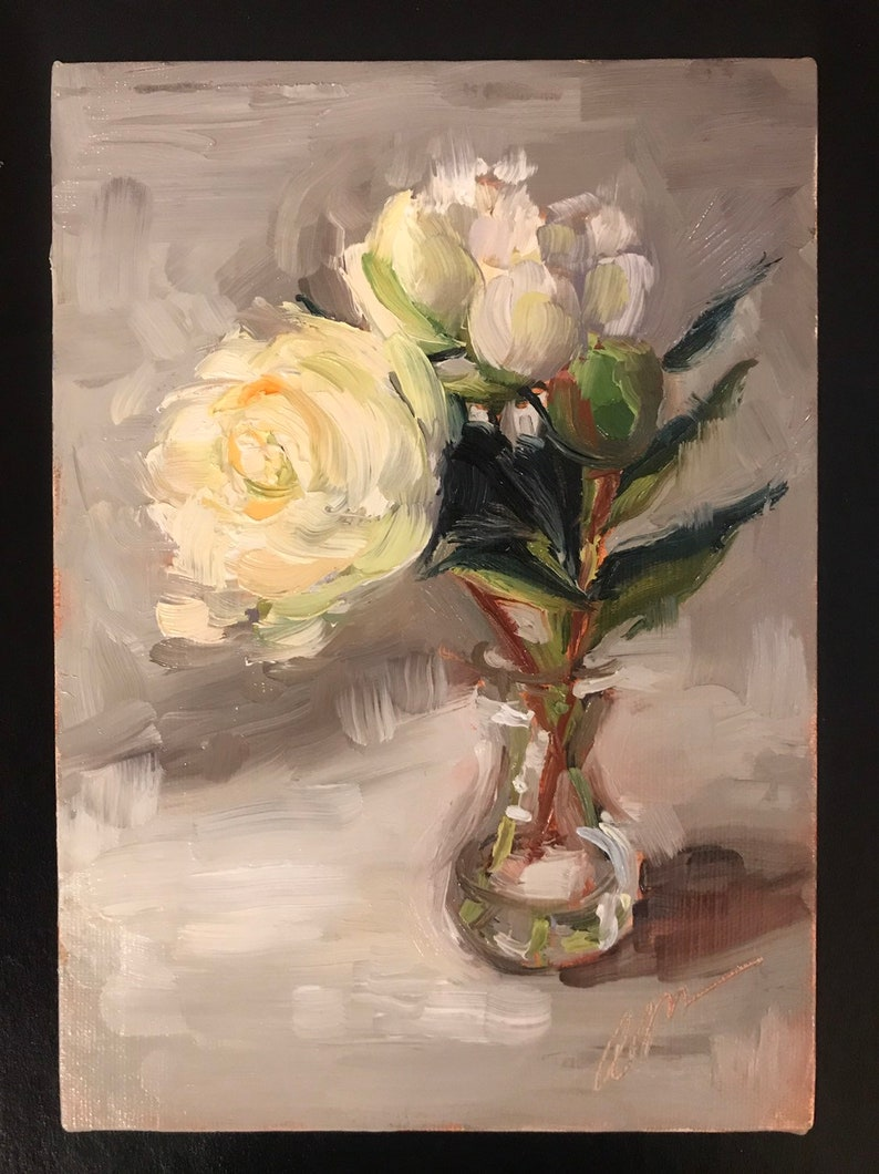 White Peonies in a Bulb Vase 5x7 oil on linen image 0