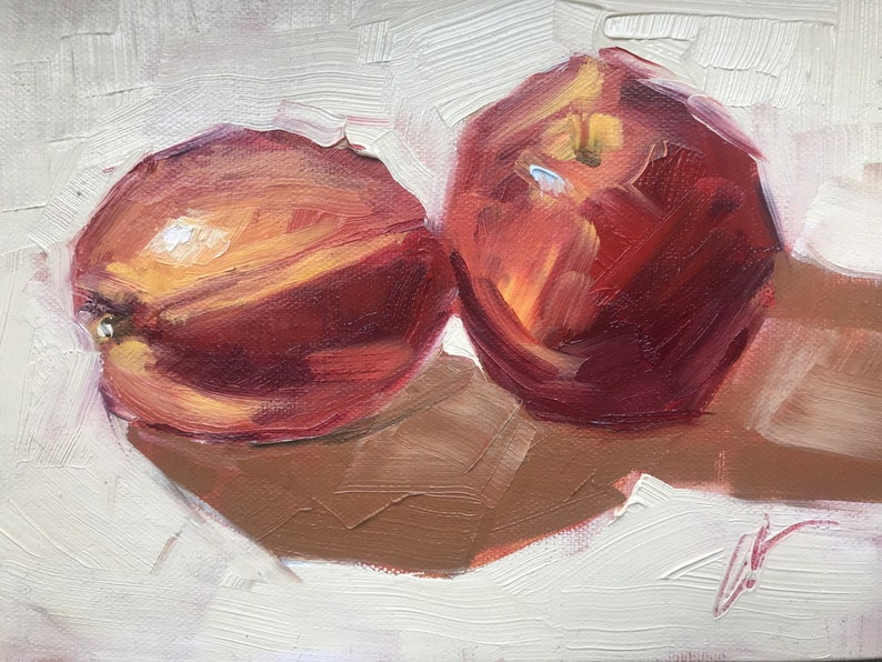 Nectarines Abstract Realism 5x7 original oil on image 0