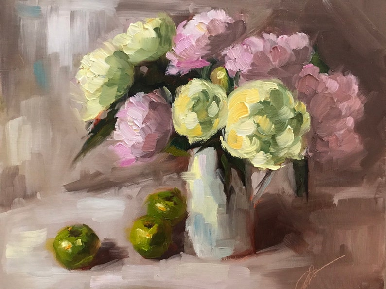 Peonies and Green Apples 8x10 oil on linen panel image 0