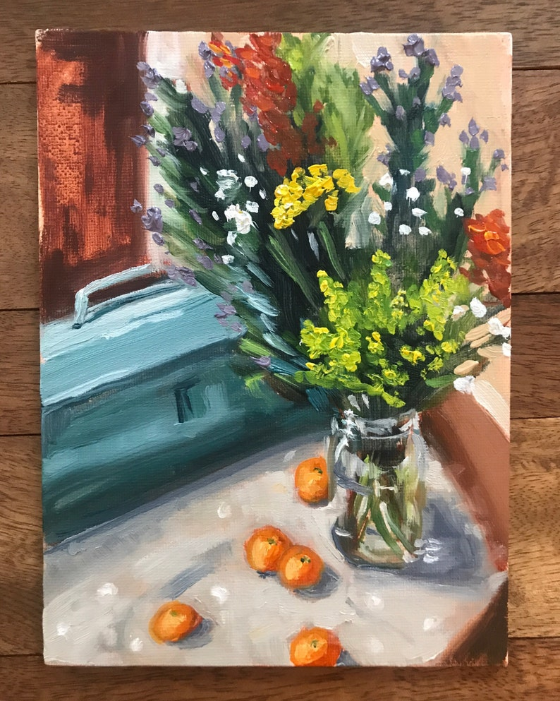 Still Life with Wildflowers Clementines and Vintage Toolbox image 0