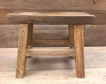 Antique Chinese Original Primitive Small Bench Milking Stool