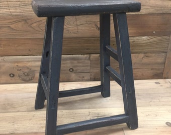 Antique Chinese Elm Wood Stool With Old Dark Gray Paint