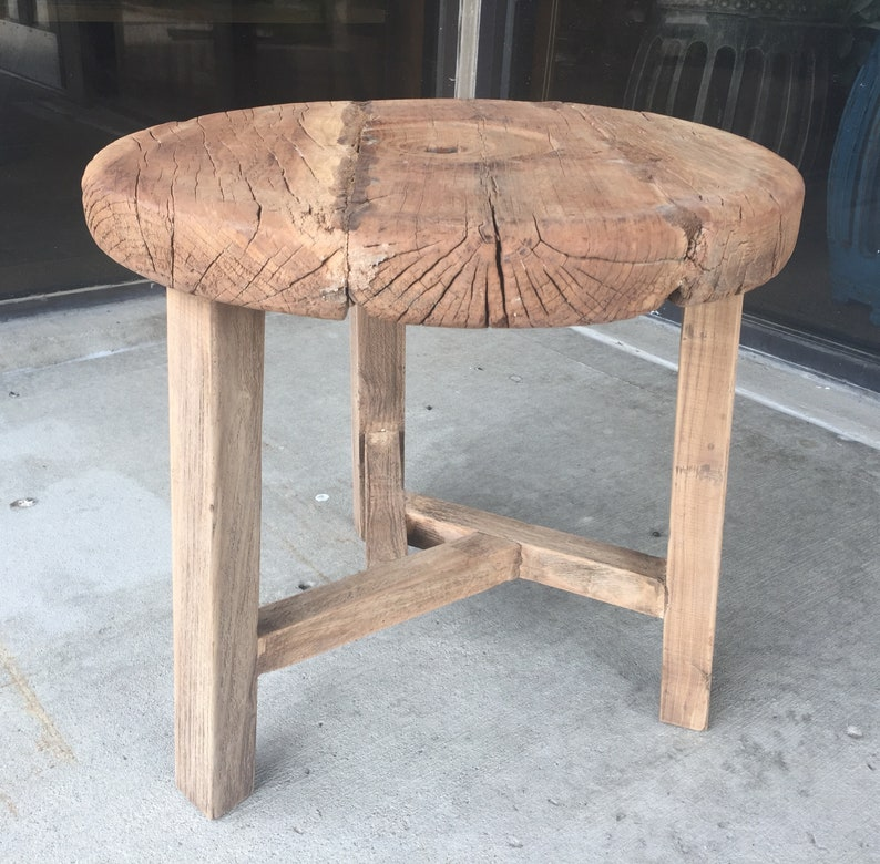 Antique Elm Wood Round Coffee Table Tea Table End Table 20 Diameter