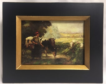 """Framed Oil Painting 8""""x 10"""" Country Girl"""