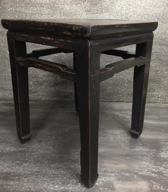 Stupendous Black Chinese Antique Ming Style Stool End Table Tea Table Coffee Table Gmtry Best Dining Table And Chair Ideas Images Gmtryco