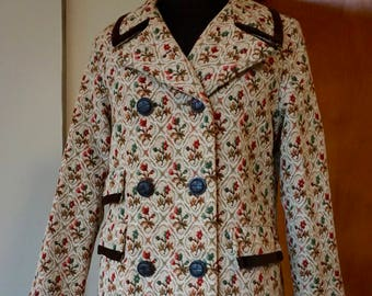 Vintage 60's Floral Tapestry Double Breasted Coat with Brown Velvet Trim Size S/M