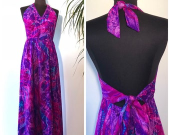 a304acecef5 Vintage 70 s Hawaiian Maxi Open Back Halter Dress Tiki Luau Purple Pink