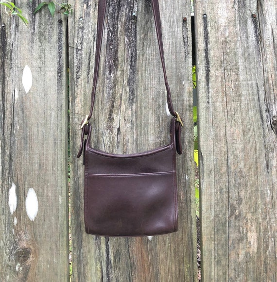 Vintage 90 s Chocolate Brown Leather Coach Legacy Zip   Etsy 5628aa6ab8