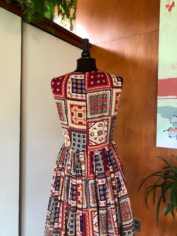 Vintage 50's-60's fit and flare dress Patchwork p… - image 9