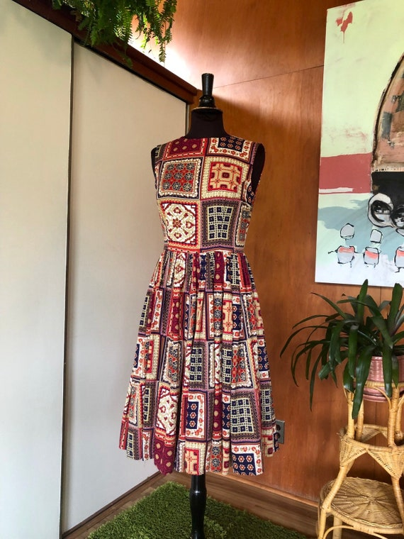Vintage 50's-60's fit and flare dress Patchwork p… - image 3