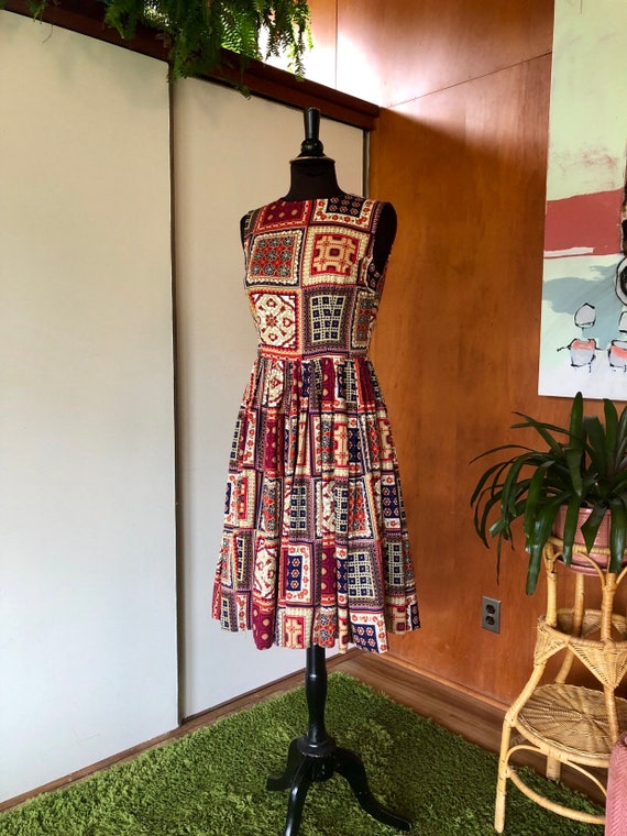 Vintage 50's-60's fit and flare dress Patchwork p… - image 4
