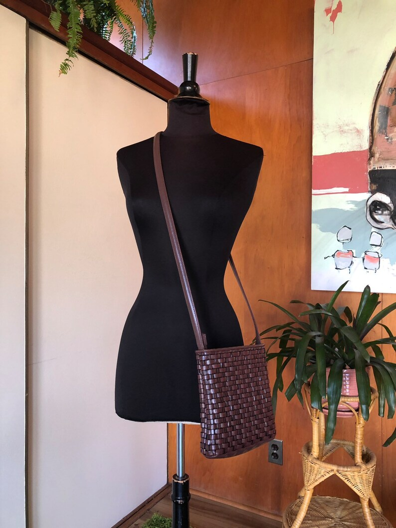 90\u2019s Vintage Brown Vegan Leather Woven Crossbody Bag Purse Small by Nine West