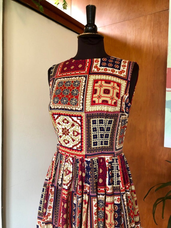 Vintage 50's-60's fit and flare dress Patchwork p… - image 5