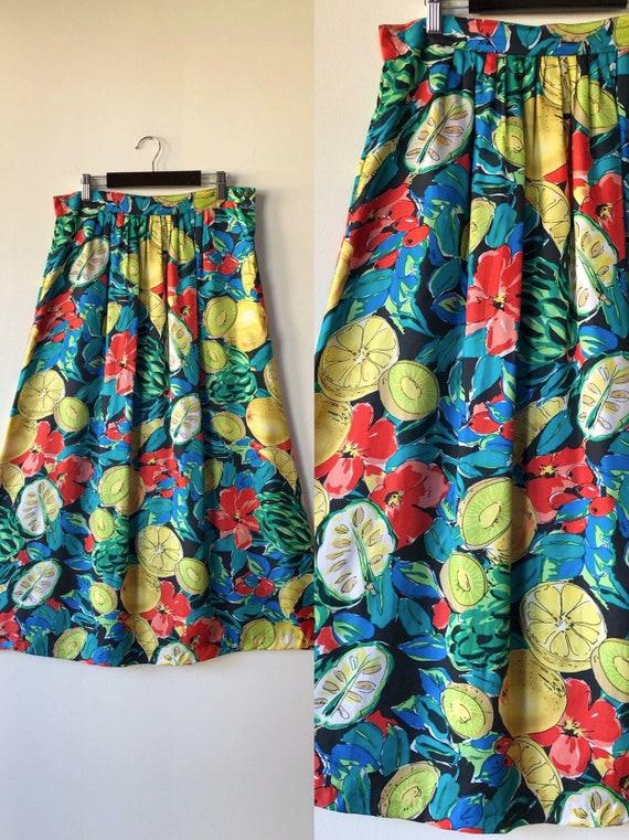 Gorgeous 80's fruit print midi skirt with pockets