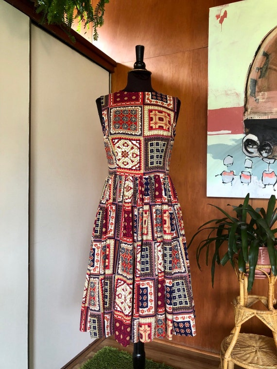 Vintage 50's-60's fit and flare dress Patchwork p… - image 10