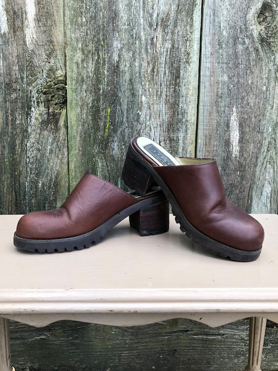 Vintage Express 90's Mules chunky brown leather sl